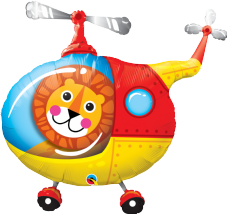 Lion in a Helicopter Super Shape Foil Balloon